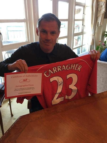 Jamie Carragher Liverpool Signerad Matchtröja