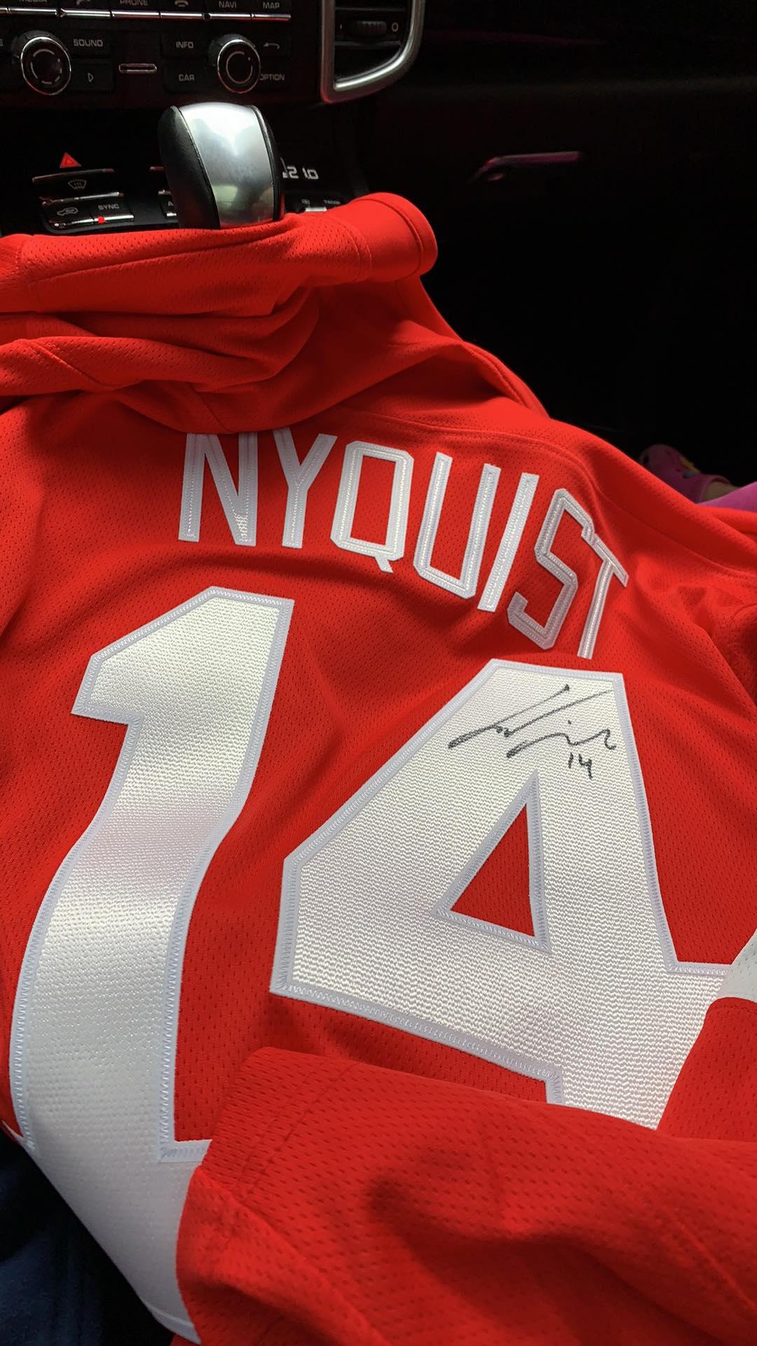 Gustav Nyqvist #14 Signerad matchtröja Detroit